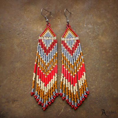 beaded earrings beadwork beading dangle jewelry beadweaving