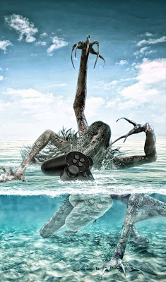 A zombie with extra long claws rises from a body of water.