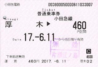 小田急乗車券(クレジットカード購入)