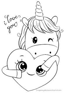 Colorear unicornio te quiero