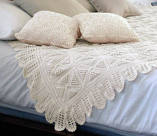 Cream Crochet Bedspread