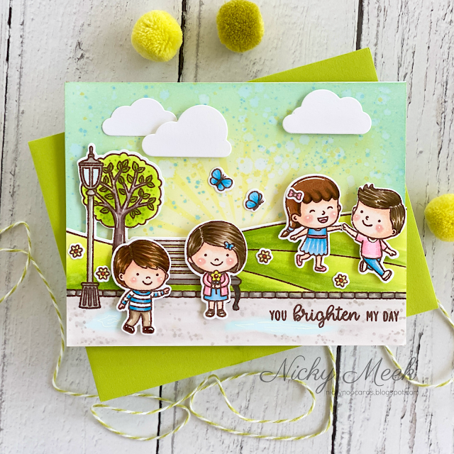 Sunny Studio Stamps: Spring Scenes Spring Showers Everyday Cards by Nicky Meek
