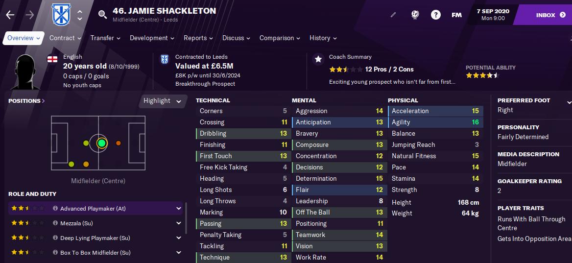 Jamie Shackleton Football Manager 2021