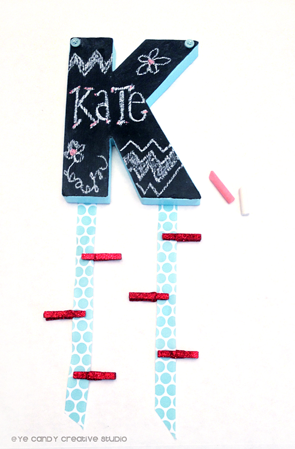 mini clothespins, back to school craft, locker DIY craft, initial, ribbon