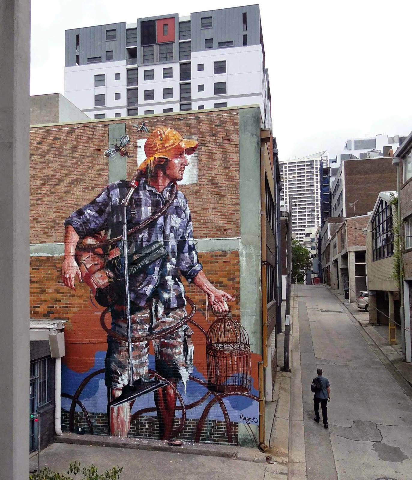 """Our friend Fintan Magee is once again rocking the streets of Sydney with this brand new piece entitled """"Domestic Bliss""""."""