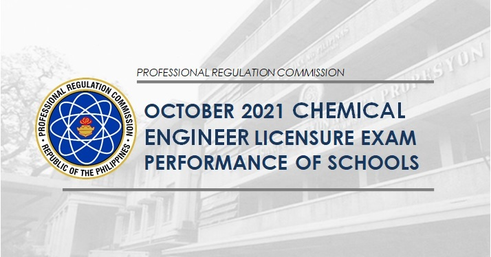PERFORMANCE OF SCHOOLS: October 2021 Chemical Engineering board exam results