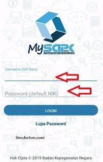 Tampilan login Aplikasi My SAPK BKN