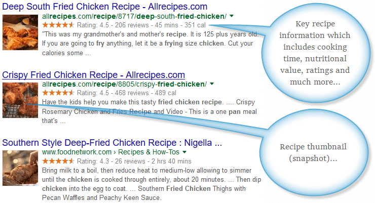 Recipe rich snippets in Google search results