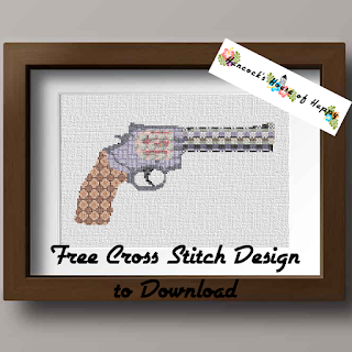 Cross Stitch Revolver Silhouette Pattern with Geometric Cross Stitch Repeating Pattern