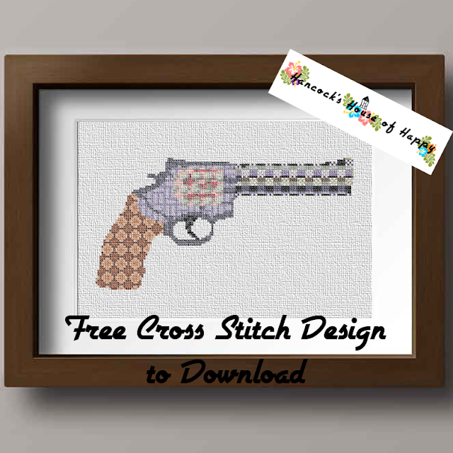 Repeating Pattern Revolver Silhouette Cross Stitch Design to Download Free