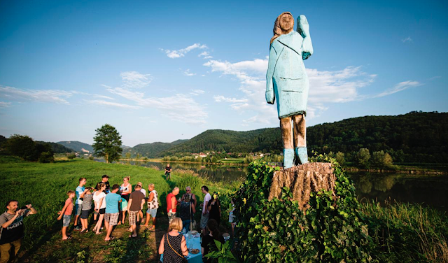 Melania Trump's Slovenian hometown unveils statue of first lady to mixed reviews