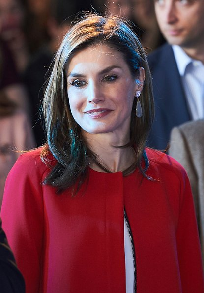 Queen Letizia wore ZARA frilled sleeve coat and Magrit Pumps, Hugo Boss blouse at Foundation Princess Girona Award ceremony