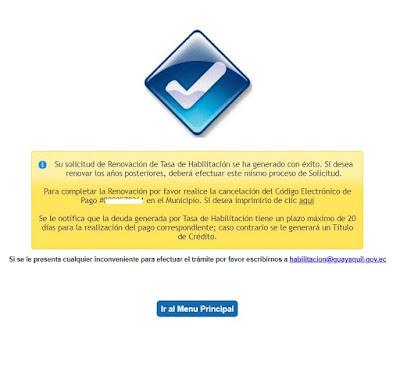 Si se proceso de manera correcta aparecerá una pantalla con está indicación un botón para imprimir el ticket para el pago. Tendrá un plazo de 20 días para acercarse al Municipio de Guayaquil ha realizar el pago correspondiente.