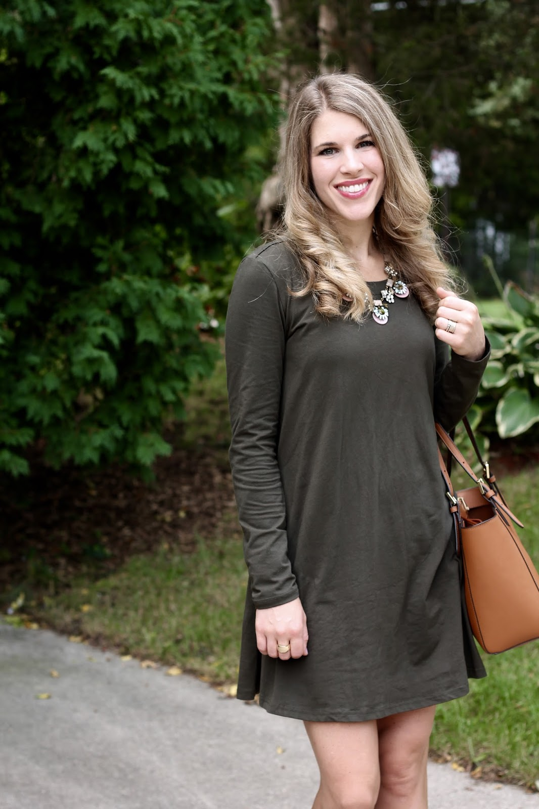 Olive swing dress, blush lace up flats, statement necklace, Tory Burch tote