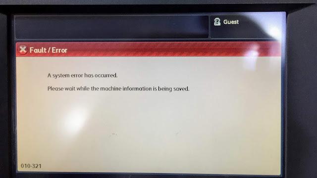 Xerox Colour 550 System Error code 010-321 Solve