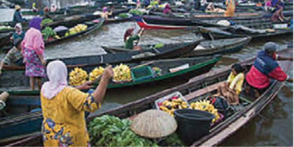 Pasar Terapung di Indonesia
