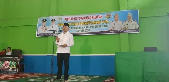 Bupati Kerinci Adirozal Buka Penyuluhan dan Sosialisasi PTSL Tahun 2020