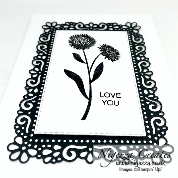 Nigezza Creates with Stampin' Up! Ornate Layers & Field Of Flowers Monochrome Simple Card