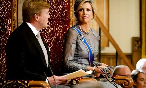 King Willem-Alexander, Queen Maxima, Princess Laurentien and Prince Constantijn attend the opening of the Prince's Day 2017. Maxima wore Natan dress