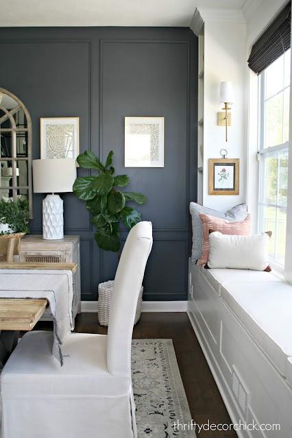 dark blue box trim walls