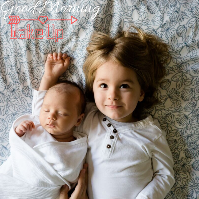 Sleeping Baby and her sister Good Morning Images