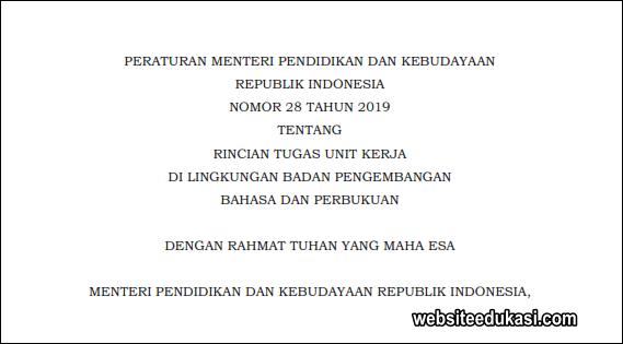 Permendikbud Nomor 28 Tahun 2019