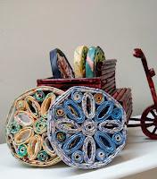 fietskar, onderzetters, papierkunst