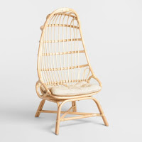 natural wooden cocoon accent chair for small living room