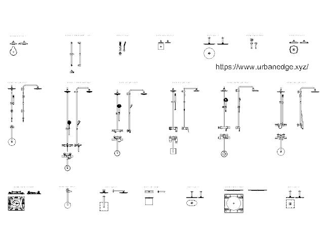 Grohe Bathroom Showers Model cad blocks