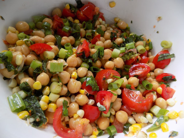 Almost Vegan Part Deux (honey garlic chickpea salad)