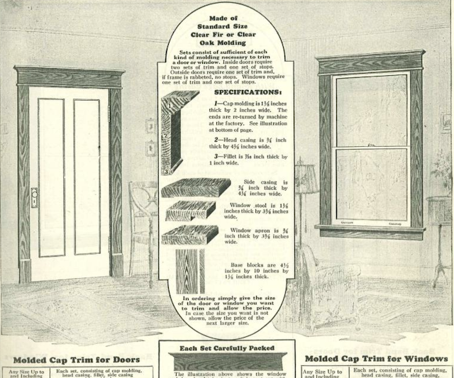 molded cap trim shown in Sears Building Supplies catalog 1930