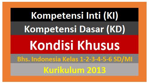 Ringkasan KI dan KD Bahasa Indonesia K13 Kelas 1,2,3,4,5,6 SD-MI Kondisi Khusus