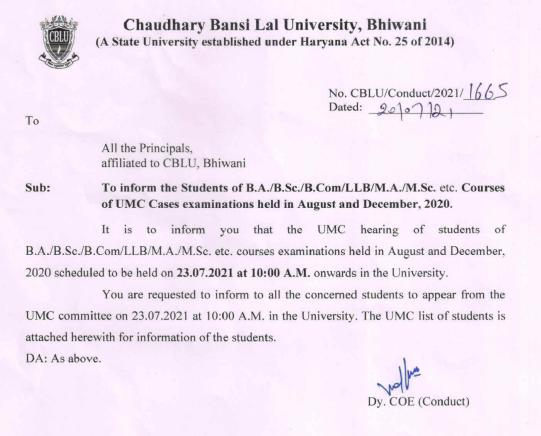 Cblu University UMC hearing notice 2021