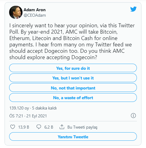 amc, dogecoini ödeme yöntemi olarak kabul edecek