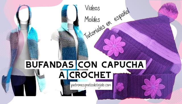 patrones-bufandas-con-capucha-bolsillos-ganchillo