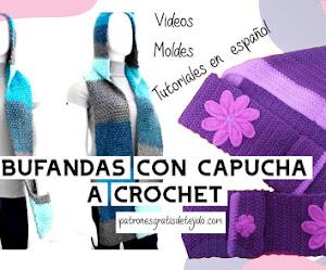Bufandas con Capucha y Bolsillos a Crochet