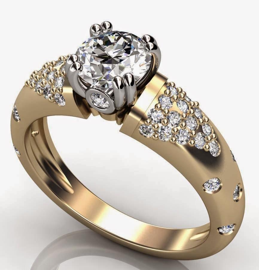 Womens Diamond Thick Wedding Rings Gold Design