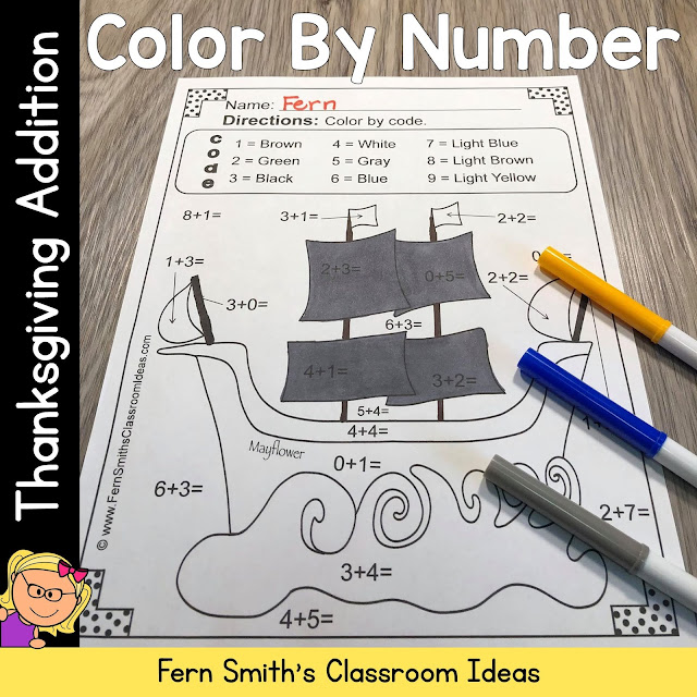 Thanksgiving Color By Number Addition Resource