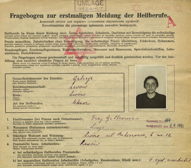 Work Permit in Poland dated 1 April 1942 worldwartwo.filminspector.com