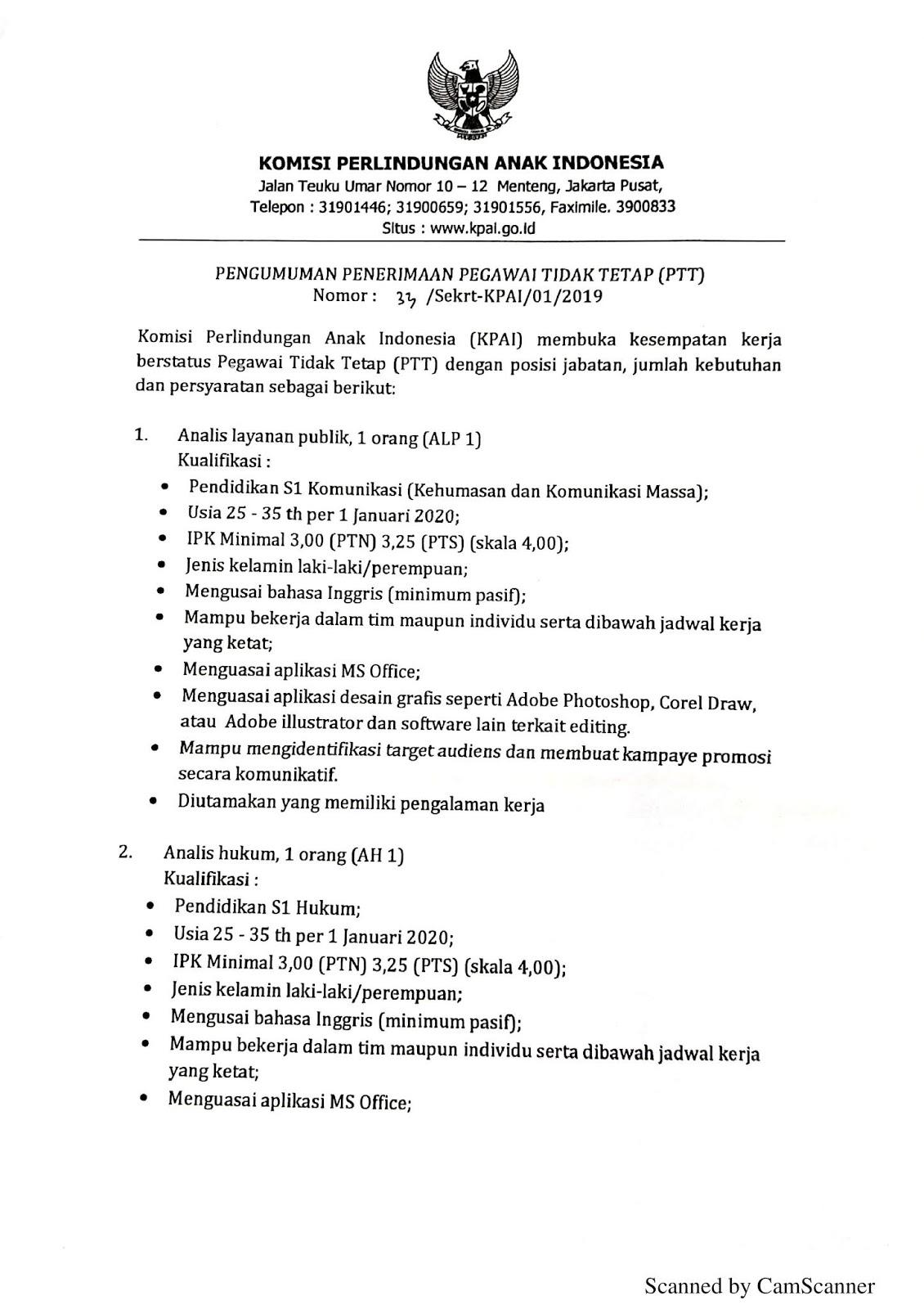 Rekrutmen Non PNS Komisi Perlindungan Anak Indonesia Bulan Januari 2020