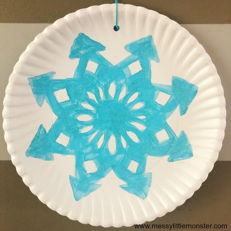 Paper plate snowflake snow craft for kids