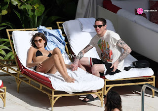 Kaia Gerber in tiny wet black bikini tongue kissing Pete Davidson in Miami Beach Pool Celebs.in Exclusive 016