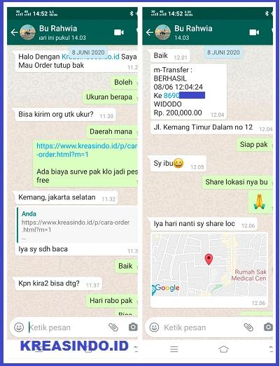 Tutup Bak Mesin Air Stainless pesanan Bu Rahwia di Kemang Timur Jakarta Selatan