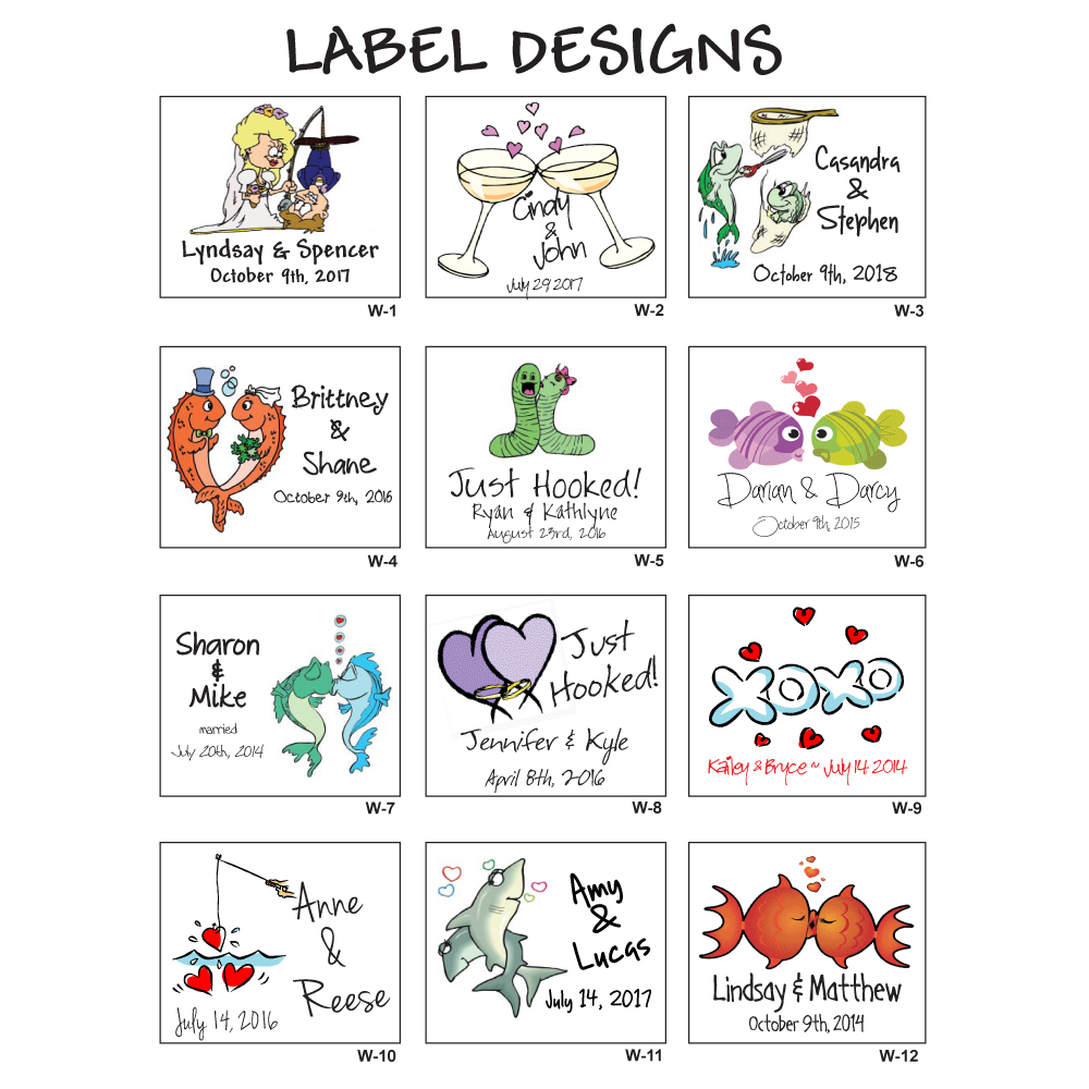 your perfect catch wedding label designs