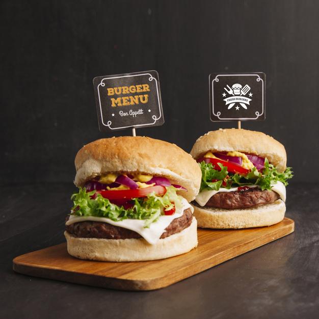 Fast food mockup with two hamburgers Free Psd