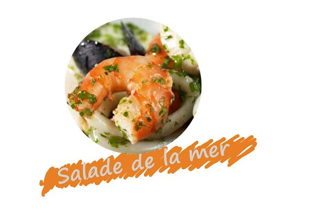 Salade de moules, crevettes, calmars, pétoncles ou noix de Saint Jacques, cuisine islandaise