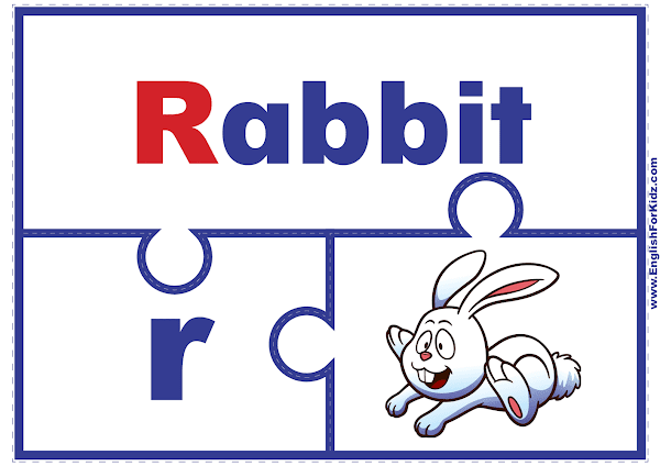 Letter R matching puzzle - printable English alphabet learning activity