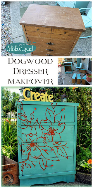 Dogwood handpainted artwork dresser makeover Krink permanent paint pen hand drawn diy makeover