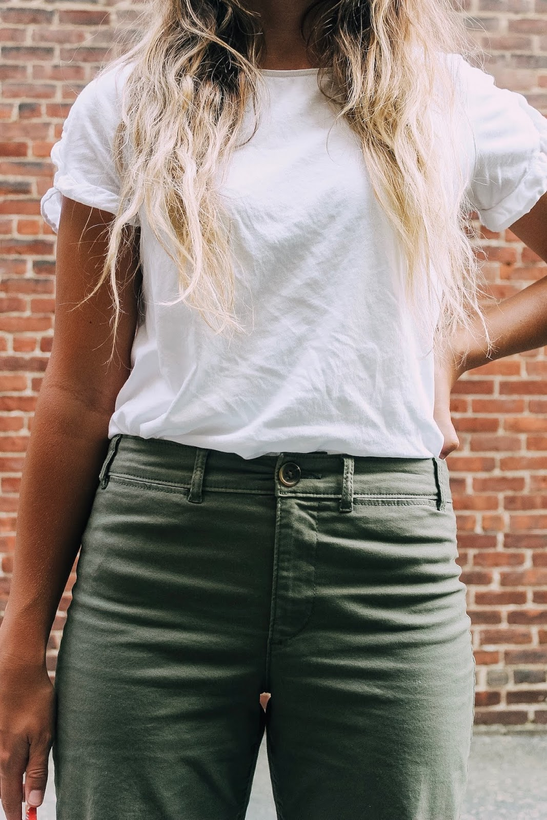 high waisted wide-leg olive green pants