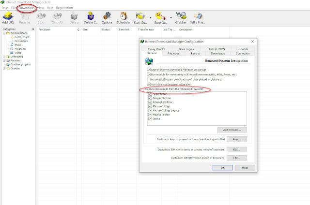 mengatasi idm tidak bisa download dengan cara memberi akses pada browser